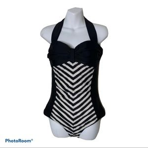 Black White Stripes One-Piece Swimsuit Pin Up